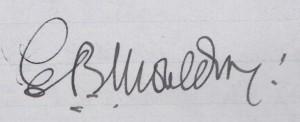 Revd E B Moulding's Signature