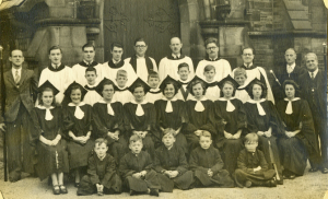 Holy Trinity Church, Waterhead - Mr Howe with the Church choir in about 1950