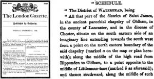 The London Gazette announces the creation of the Waterhead 'district', in 1844. Issue 20420, page 5032. Right: after a legal preamble, the actual description of the new district commences.